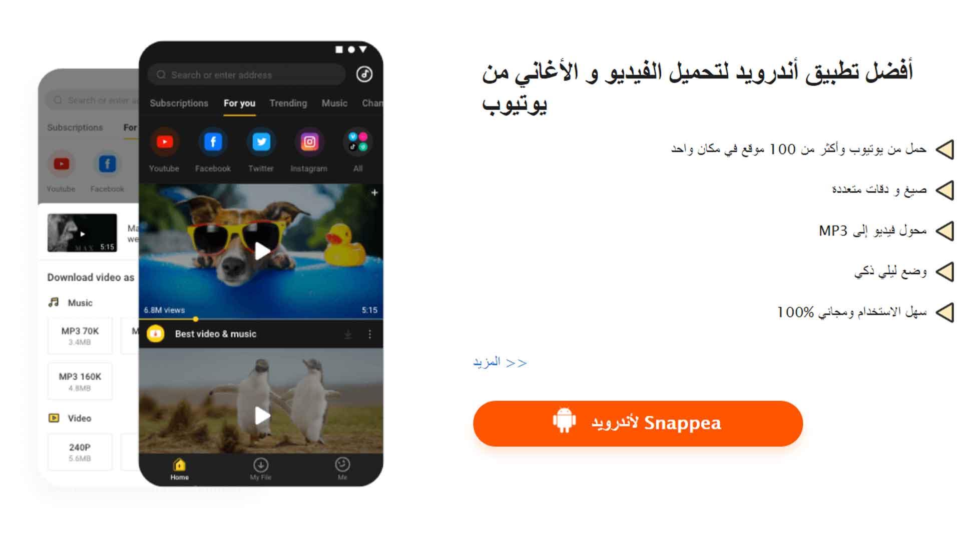 افضل تطبيق وموقع لتحميل الفيديوهات من اليوتيوب والاغانى 2020 (snappea)